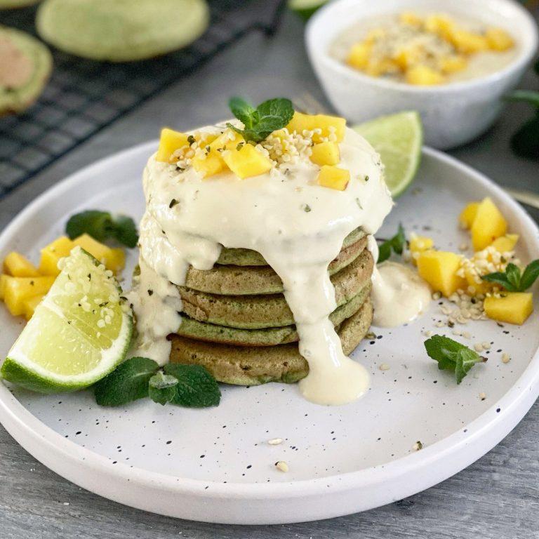 mojito pannenkoekjes met mango yoghurt alpro