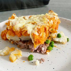 ovenschotel zoete aardappel lamsgehakt bloemkool wortel